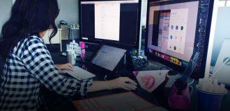 designer working on a task