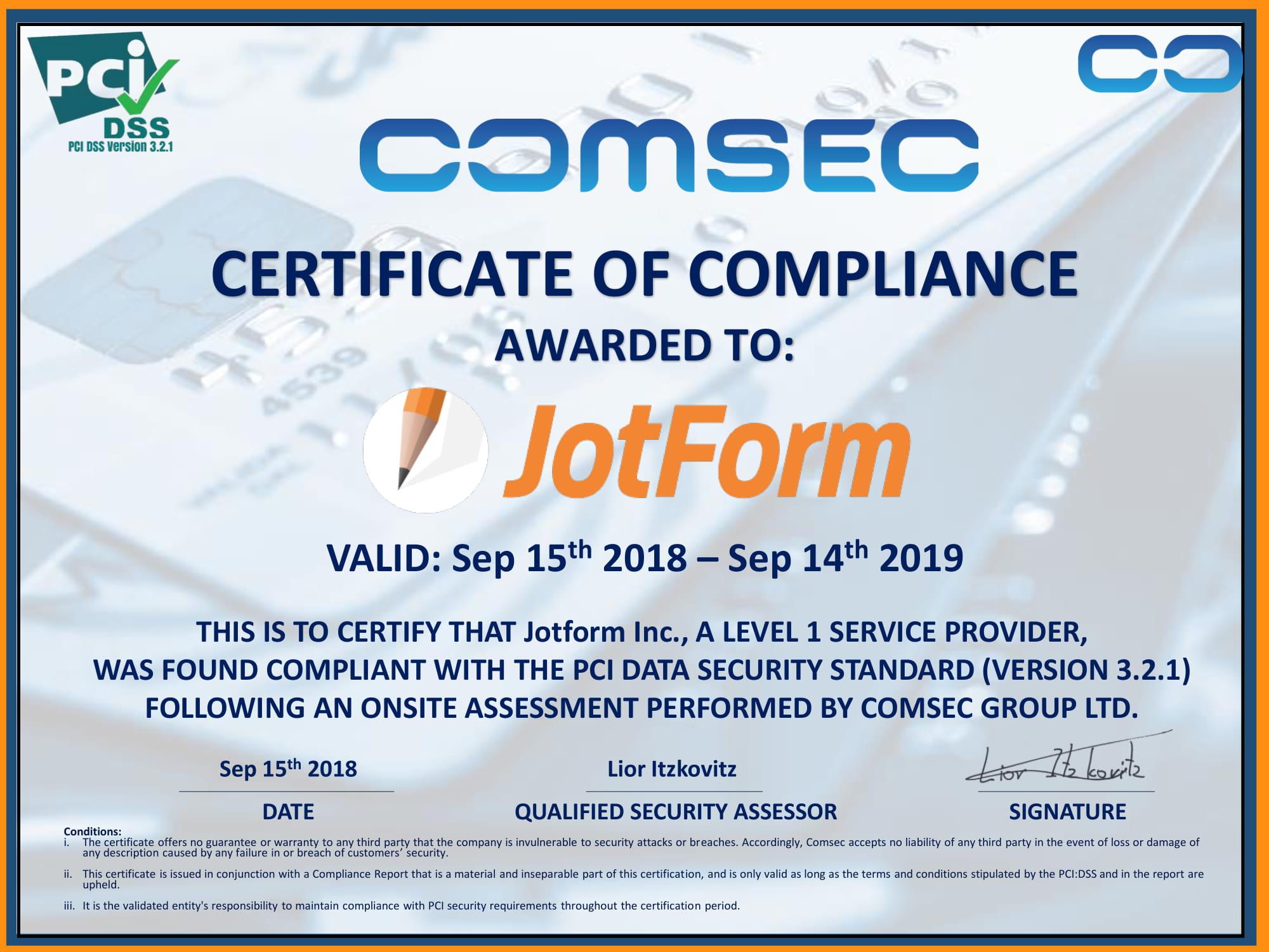 JotForm PCI Certificate