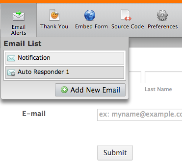 online form email settings