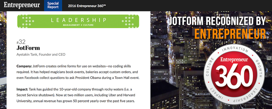 JotForm Named One of The Best Privately-Owned Companies in America