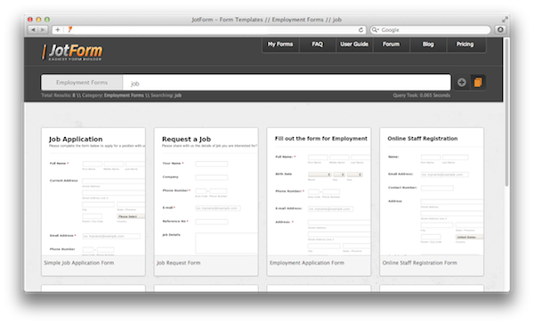 web forms templates