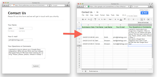 Google Docs Integration Send Responses To Google Spreadsheets