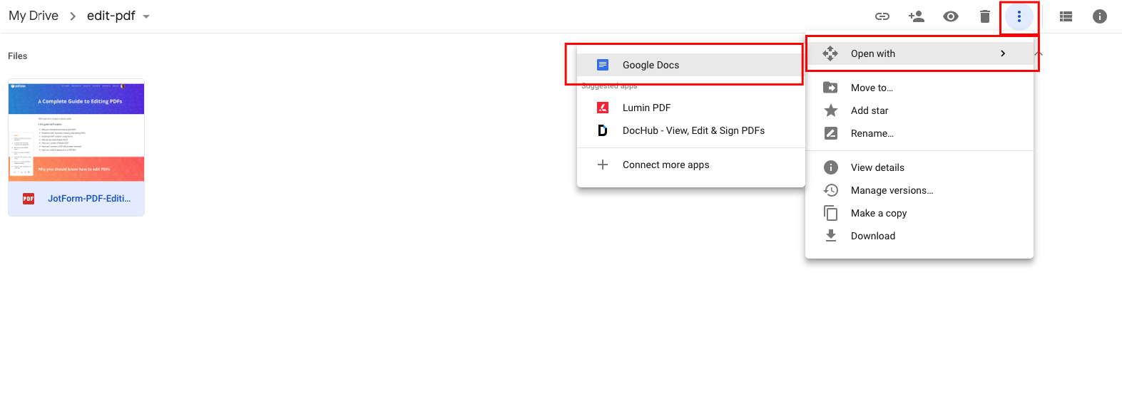 Edit PDF on Google Drive