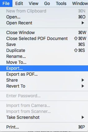 export item under file menu