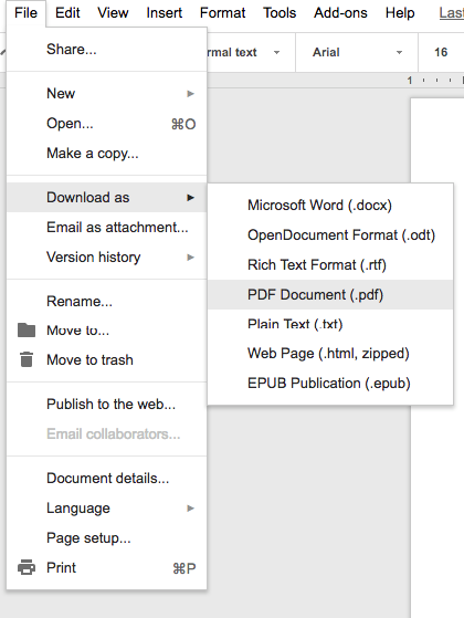 Google Docs Save as PDF