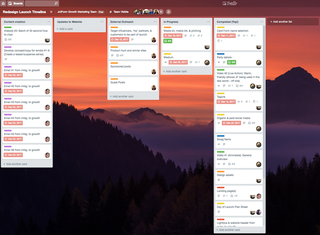 JotForm Cards Launch - Trello Board