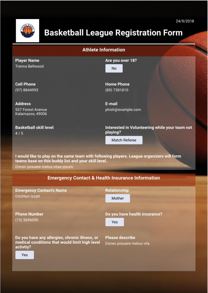 Basketball League Registration Event Template
