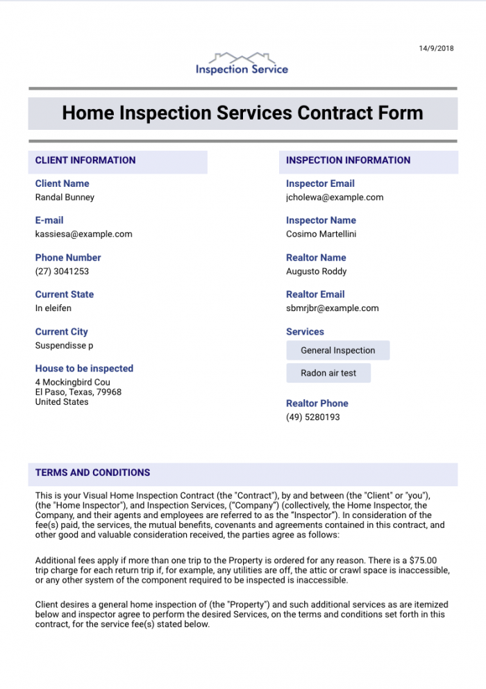 Home Inspection Services Contract Template