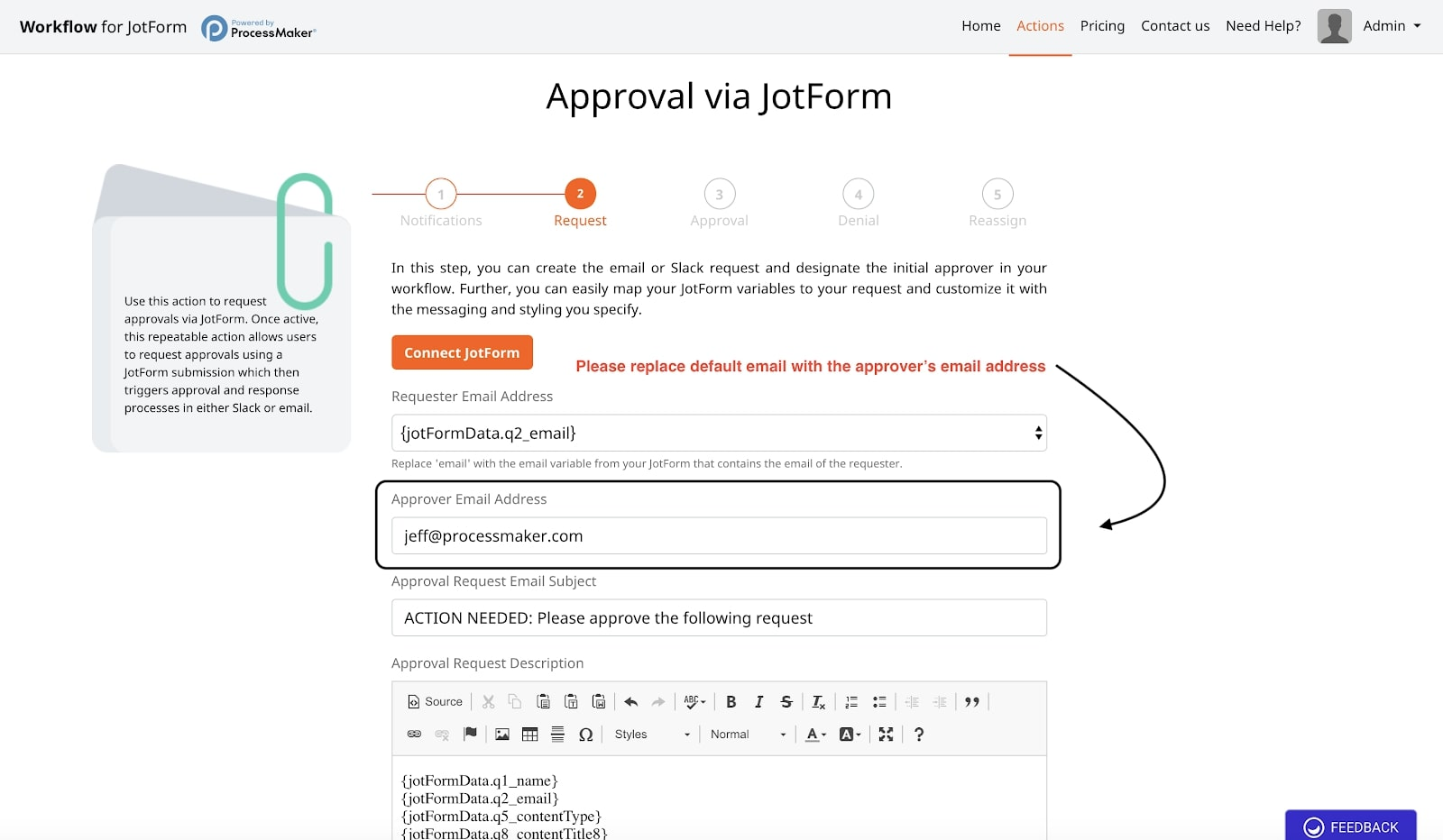 Approver Email Address - JotForm