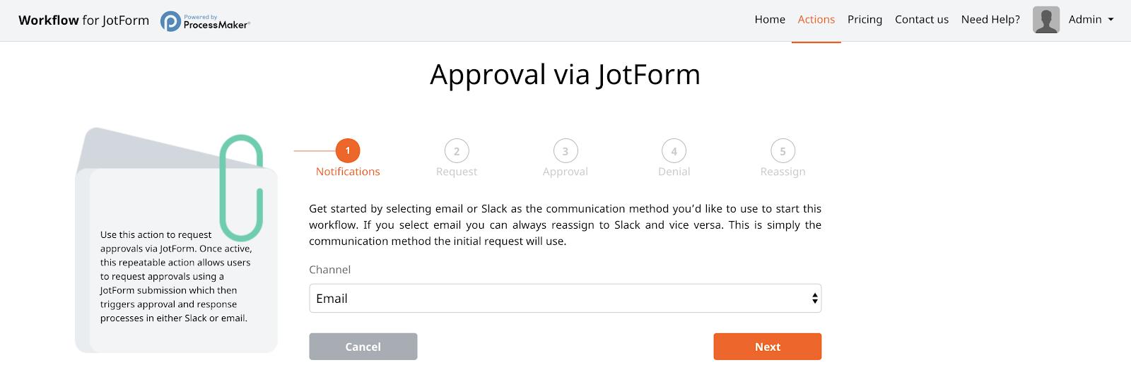 Communication Channel Selection JotForm ProcessMaker