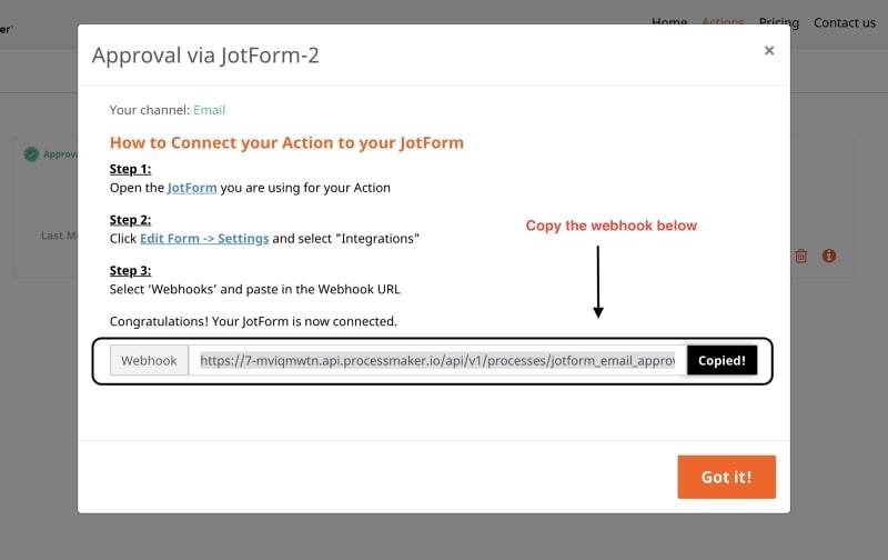 Modal with Webhook - JotForm ProcessMaker