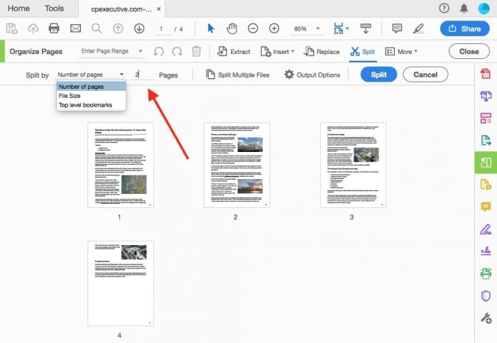 split PDF files in Adobe step 3