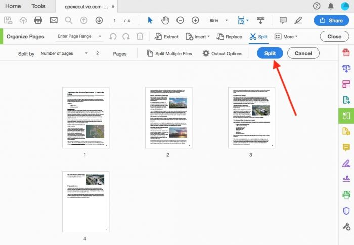 split PDF files in Adobe step 5