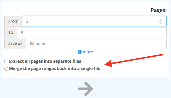 "PDF Splitter ""Merge the page ranges back into a single file"""