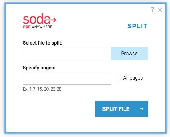 Soda PDF - Select file to Split