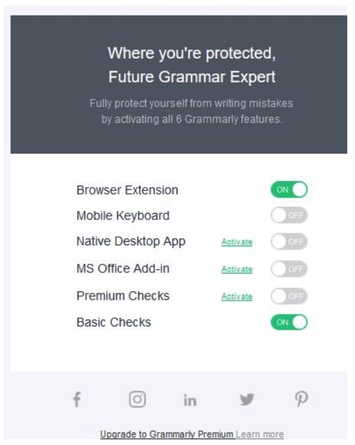 Grammarly feature activation check