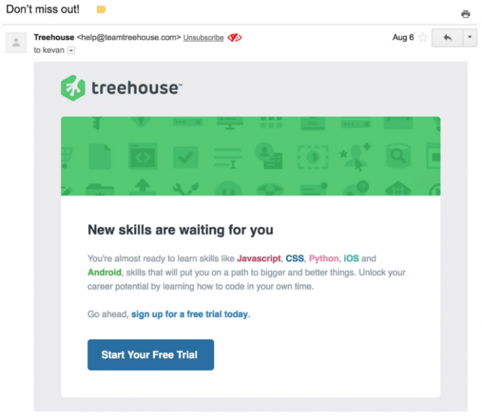 Onboarding email for free trial of Treehouse