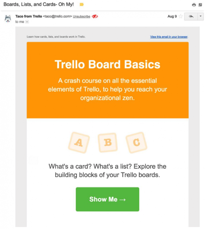 Trello email with basics