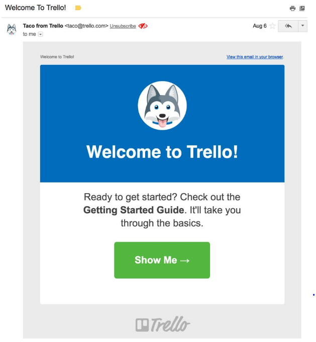 welcome screen of trello