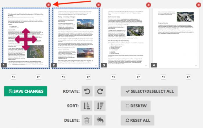 Rearrange pages, PDF2Go