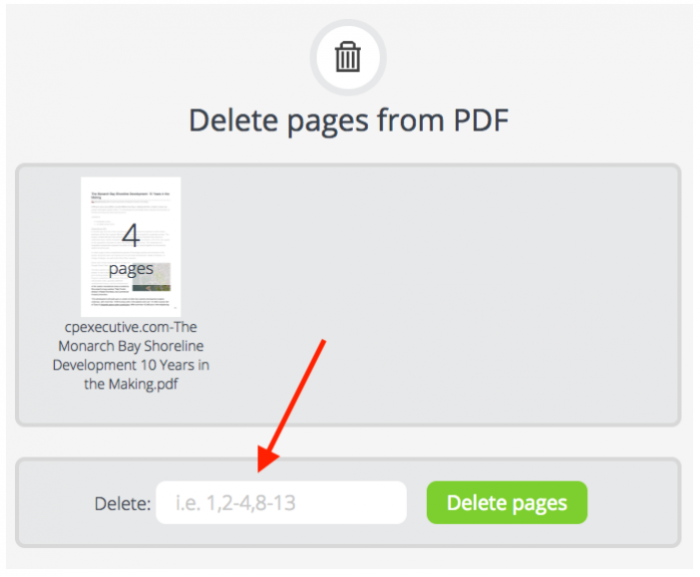 Select pages to be deleted, PDFCandy