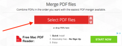 Select files to be merged, ILovePDF