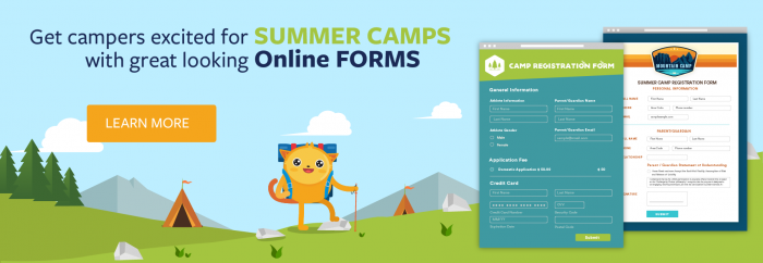 Get campers excited for summer camp with great looking online forms