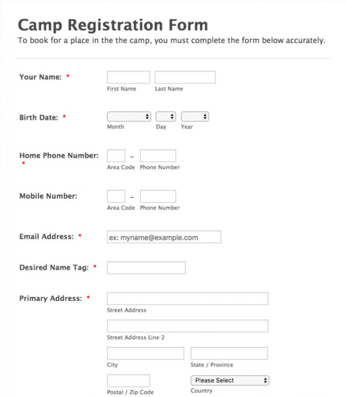 Camp Registration form