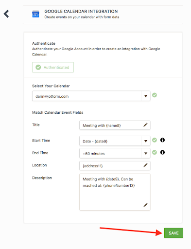 configure google calendar integration