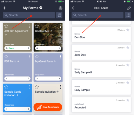 JotForm Mobile Forms Submissions