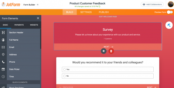 Product feedback survey, drag and drop features