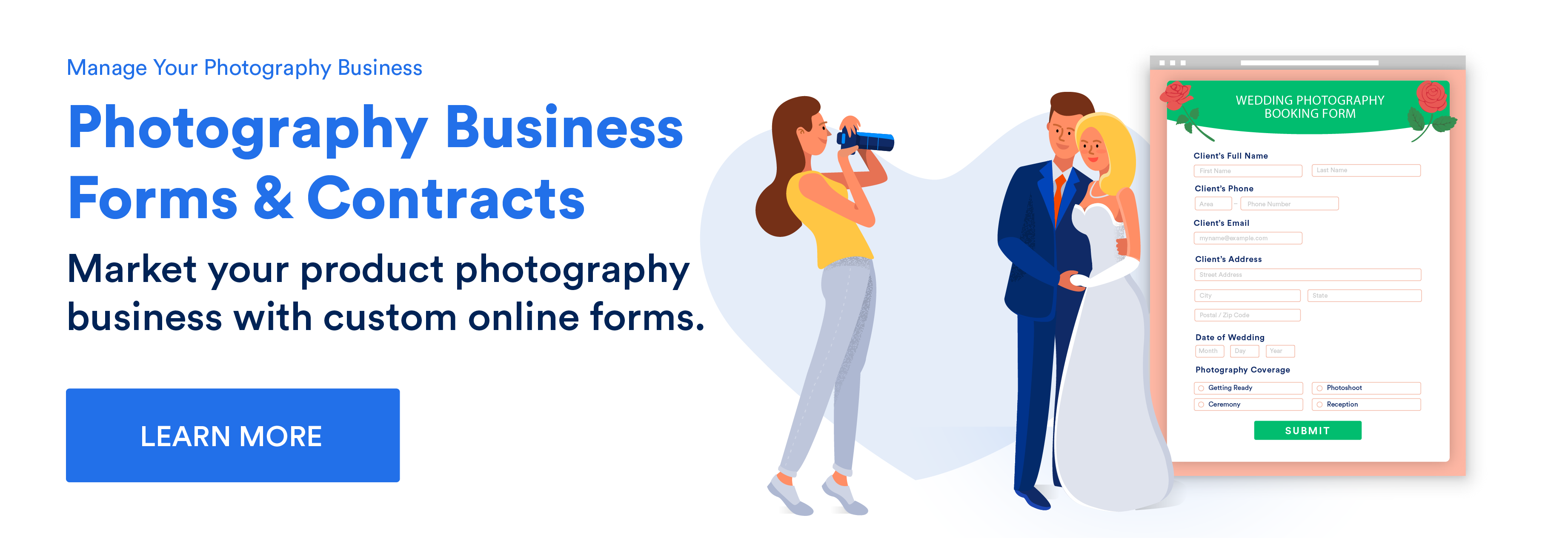 Market your product photography business with custom online forms.