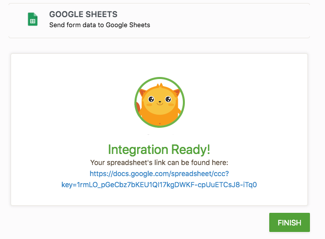Google sheets JotForm integration is ready