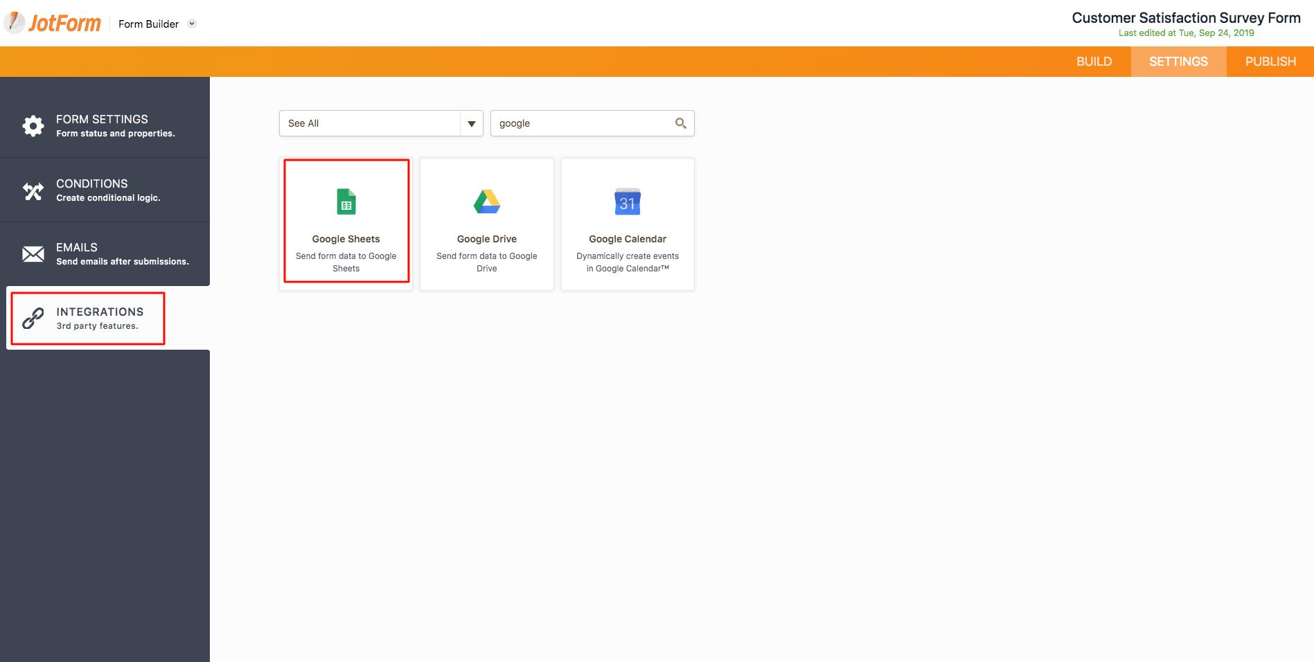 JotForm Google sheets integrations tab