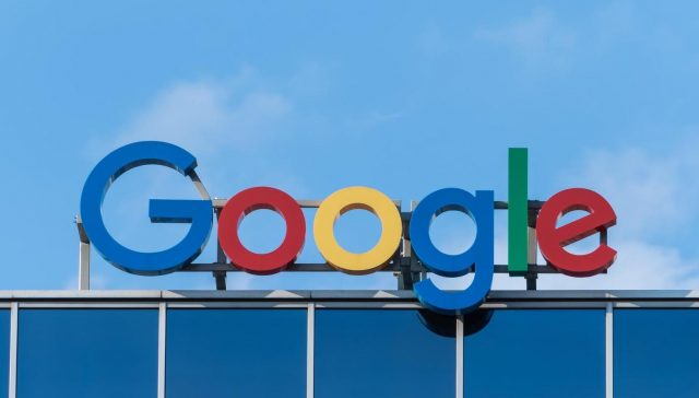 A photo of Google's sign on a building