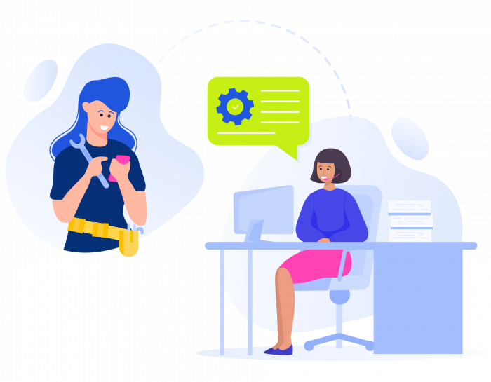 Remote worker communicating with the office