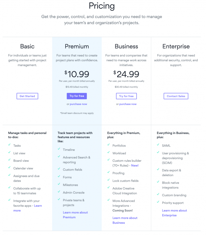 screenshot of Asana pricing page