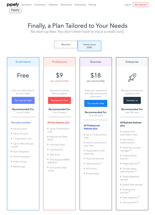 screenshot of pipefy pricing page
