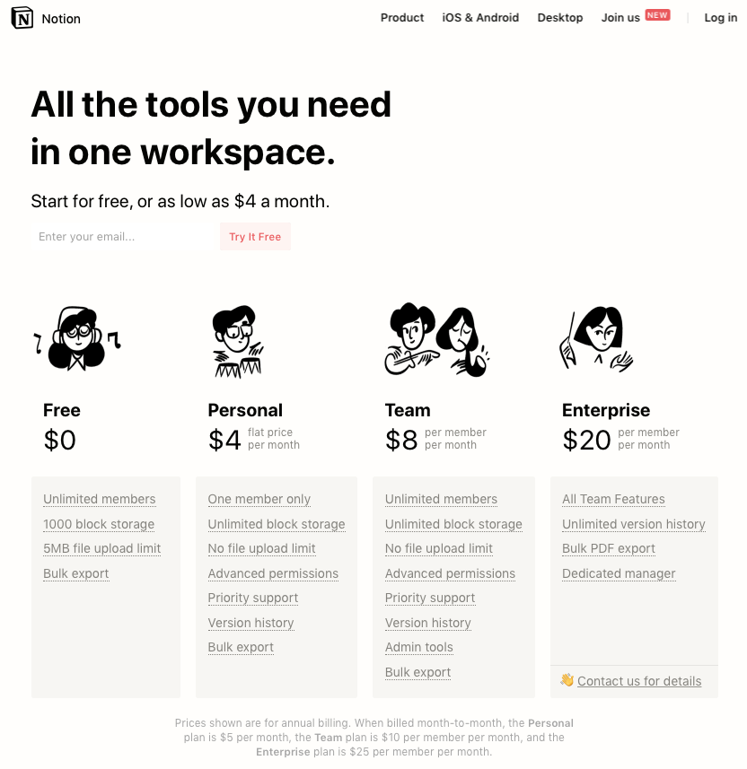 screenshot of Notion pricing page