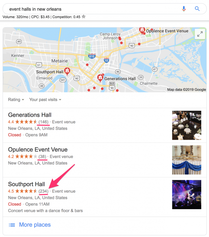 google maps event venues