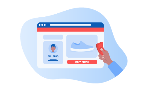 Person shopping from a seller on an online shopping platform