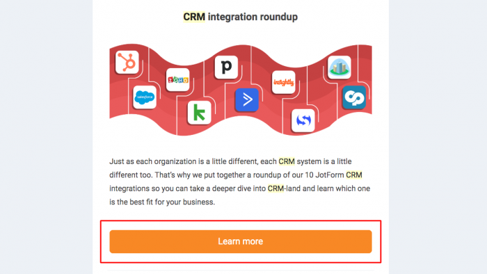 command button CTA from JotForm newsletter