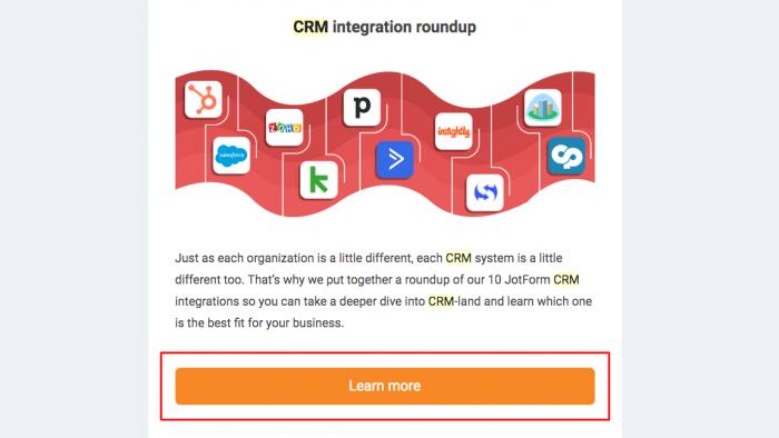 command button CTA from JotForm newsletter