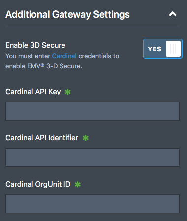 contact cybersource for Cardinal credentials