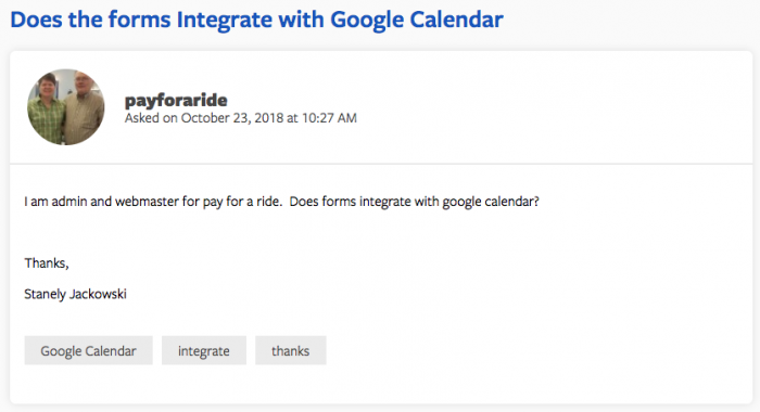 jotform google calendar integration request from user