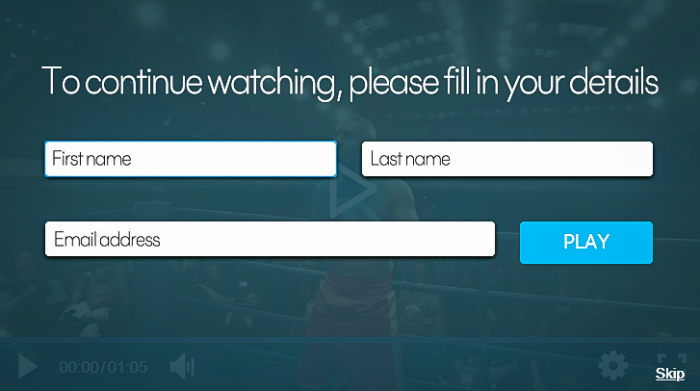 "a lead generation form that says ""To continue watching, please fill in your details"""