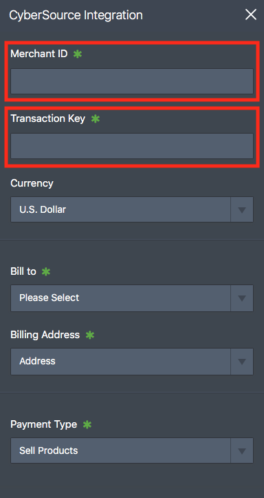 Merchant ID and transaction key fields