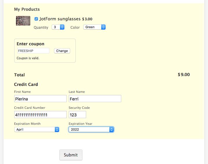 jotform cybersource payment field