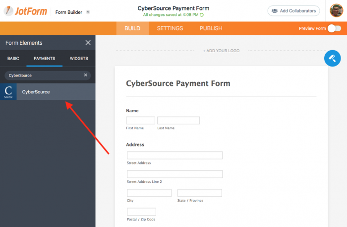 cybersource in payments section of jotform's form builder