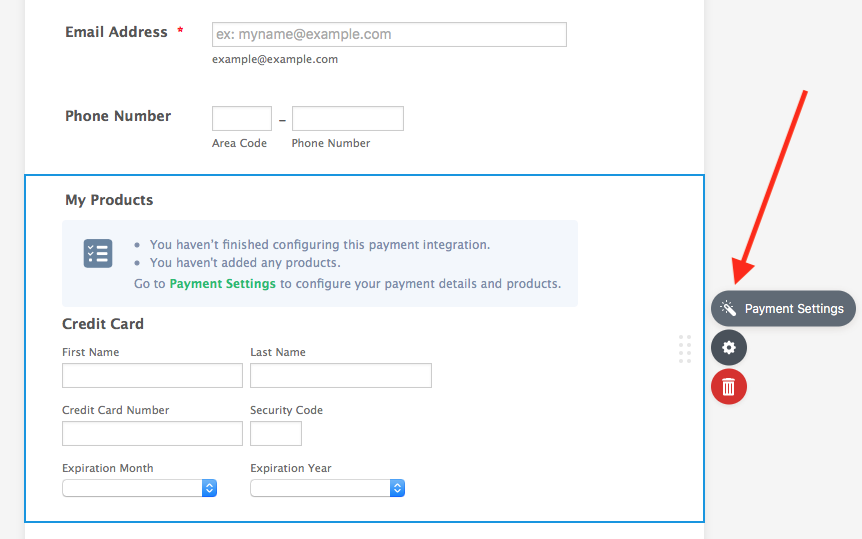 payment settings in jotform form builder